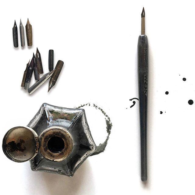 Ink and Pen #inkandpen #inkdrawing #toolsofthetrade #higginsink #drawntodraw #elvisswiftdrygoods ##joaniebernsteinartrep #naplesartdistrict #naplesart #naplesfl