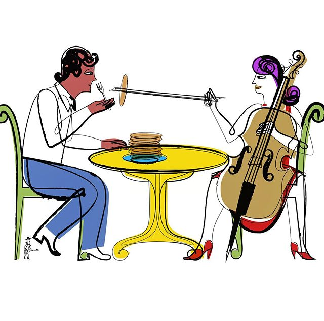 Something about eating and playing music in Dallas Texas. #dmagazine #dallastexas #inkandcolor #cowgirlwithguitar #girlwithguitar #cello #illustration #editorialillustration #joaniebernsteinartrep #elvisswift @d_magazine @joaniebartrep